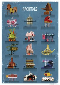 ARCHITALE - when fairy tales meet architecture and illustration. You may have seen some of Federico Babina's previous architecture inspired illustrations. Architecture Drawings, Architecture Design, Architecture Illustrations, Architecture People, Architecture Panel, Architecture Portfolio, Illustrator, Famous Architects, City Art