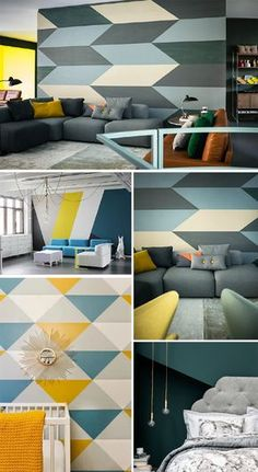 Wall Painting Ideas Here, we've gathered a collection of ideas as well as tips on how to spruce up your walls with paint, wallpaper, and more. Obtain decorative wall painting ideas and also innovative layout ideas to colour your interior home walls. Interior Walls, Interior Design Living Room, Living Room Decor, Bedroom Decor, Dining Room, Bedroom Wall Designs, Living Room Designs, Geometric Wall Paint, Room Wall Painting