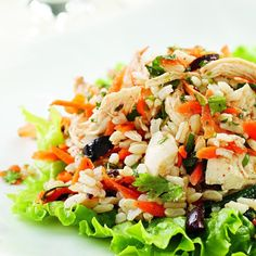Leftover chicken and rice come together in this flavorful main dish salad. Serve over fresh greens.
