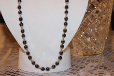 Hematite Glass Beaded Necklace with by AngeleDesignsLA on Etsy