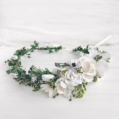 Flower crown custom made Flax Flowers, Rustic Flowers, Flower Crown Wedding, Wedding Flowers, Wedding Colors, Wedding Styles, White Floral Crowns, Bloom Baby, Hair Decorations