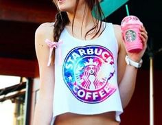 Starbucks galaxy muscle tee Starbucks Crafts, Starbucks Shirt, Starbucks Drinks, Starbucks Coffee, Cute Summer Outfits, Outfits For Teens, Cool Outfits, Starbucks Birthday Party, Galaxy Outfit