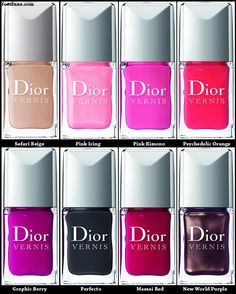 Dior Fall 2011 Nail Bar Collection: #219 Safari Beige (Nude), #253 Pink Icing (Pink with shimmer), #483 Pink Kimono (Bright pink), #545 Psychedelic Orange (Orange), #671Graphic Berry (Berry), #804 #Perfecto (Gray), # 853 Massai Red (Red), #886 New World Purple (Purple with shimmer), #906 #PurpleRevolution (Purple).