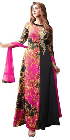 Ethnic Pink And Black Silk Anarkali Suit.