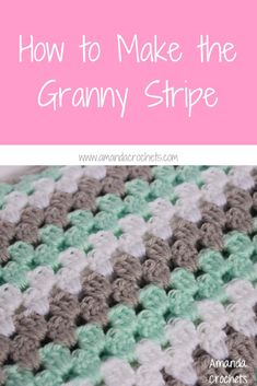 How to Make the Granny Stripe : Hey everyone! Today I'm going to show you how to make the granny stripe stitch. This is a different take on the traditional granny square. The granny stripe is worked up in rows instead of in the r… Granny Stripe Blanket, Striped Crochet Blanket, Granny Square Crochet Pattern, Crochet Pillow, Crochet Stitches Patterns, Crochet Granny, Square Blanket, Crochet Blankets, Beginner Crochet Projects