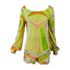 Emilio Pucci 2pc silk knit short & top set in hot citrus colours 1960s | 1stdibs.com
