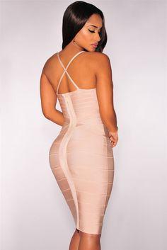 Apricot Crisscross Bandage Dress