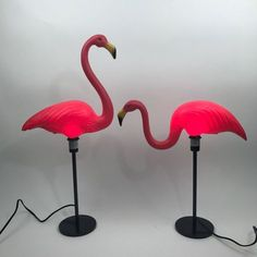 Classic Don Featherstone plastic lawn ornament upcycled into the most unique lamp youll ever own! Perfect for any vintage lover, RV owner, Florida room, Nursery, Kitschy kitchen... Pretty much anywhere you want to have the best conversation piece youve ever owned! This listing is for a pair of flamingo lamps - the default for this order will be one of each style, but if you would prefer two of the same style (either standing or grazing), just leave a note on your order or send me a…