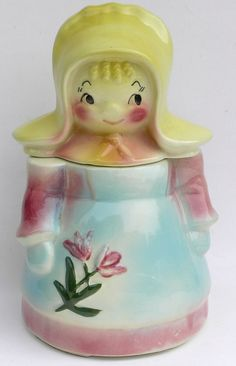 American Bisque Peasant Dutch Girl Cookie Jar Pennsylvania 1950's Cookie Containers, Antique Cookie Jars, Vintage Cookies, Biscuit Cookies, Cute Cookies, Pennsylvania, Cookie Cutters, Dutch, 1950s