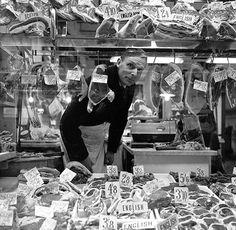 London Photographs: Butcher looking through his shop window