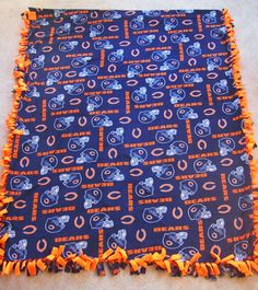 Chicago Bears Fleece Tie Blanket by TaylorMadeJoy on Etsy