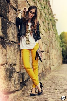 yellow jeans, leather, studs