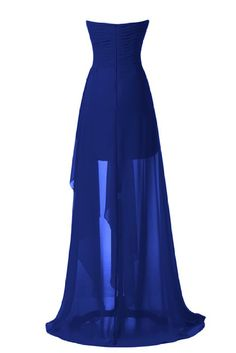 Sunvary High Low Strapless Chiffon Bridesmaid Evening Dresses Prom Gowns Mother of the Groom Gowns US Size 2- Royal Blue