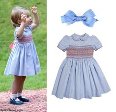 hrhduchesskate:  For a children's party, Princess Charlotte wore a Pepa & Co Classic Handsmocked Dress, Mary Jane shoes, and Amaia Kids blue bow, September 29, 2016