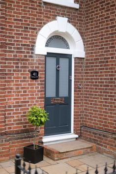 Kingston timber front door in dark grey blue
