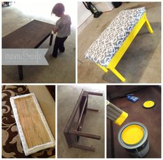 Why stick with a plain o', boring wooden scratched up table, when you can completely re-do it? Learn from Lindsey how to do this DIY project! Furniture Projects, Furniture Makeover, Home Projects, Diy Furniture, Diy Ottoman, Upholstered Ottoman, Burlap Ottoman, Diy Coffee Table, Diy Table