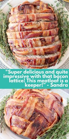 This Bacon Wrapped Meatloaf is a hit with 4.7 out of 5 stars and tons of raving reviews! Try this easy recipe for dinner tonight! Good Meatloaf Recipe, Best Meatloaf, Meatloaf Recipes, Paleo Keto Recipes, Bacon Recipes, Vegetarian Recipes, Bacon Wrapped Meatloaf, Paleo Appetizers, Best Bacon