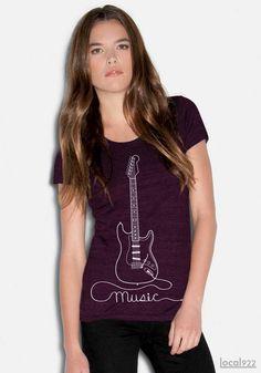 Guitar - Women's T-shirt 100% Cotton Hand Printed in Portland, Oregon. $24.99, via Etsy.