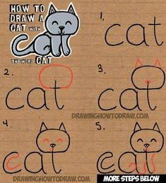 Drawing made easier: a cat made from letters C-A-T. How cute!