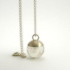 Les graines de pissenlit délicat collier résine petite ronde avec capuchon argenté et chaîne en argent Sterling, bijoux romantique   Collection