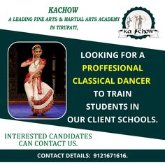 Wanted Classical dance trainer Location: Tirupati Contact: 📲 9121671616 Dance Trainers, Art Academy, Martial Arts, Dancer, Projects To Try, Places To Visit, Fine Art, Dancers, Combat Sport