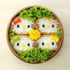 Hello Kitty inari sushi Chose the easiest creation from Morisaki Riyo's bento book to replicate #bento #obento #charaben #characterbento #kyaraben #japanesefood #kidsmeal #cutefood #instafood #icapture #inarisushi #tunamayo #hellokitty #sanrio #morisakiriyo