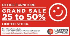 At United Office Systems we believe in giving in the holy month of #Ramadan. We therefore bring you our Grand Sale across all range of #officefurnitures from #office #chairs to #lounge #seatings. Sale from 25% to 50%. Hurry before stocks run out and make the most of this holy season.