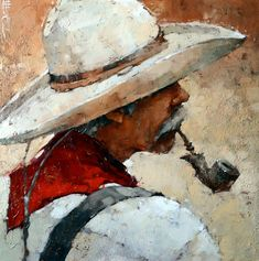 "Favorite Time of Day, 24"" x 24"" Oil by Andre Kohn"