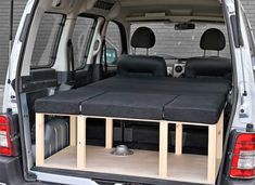 The Simple camper van conversion in sleeping mode with the optional cushion set. Car Camper, Mini Camper, Camper Van, Berlingo Camper, Campervan Bed, Kangoo Camper, Folding Campers, Transit Camper, Van Camping