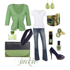 Dress up your jeans...green and blue, created by jackijons.polyvore.com