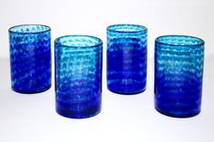 Blue Spiral Tumblers | D Wooddell Glass