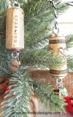 These DIY Wine Cork Ornaments are easy to make and so festive!