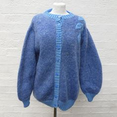 Top blue cardigan ladies gift handmade sweater 80s by Regathered