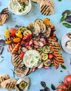 marinated grilled veggies with avocado feta