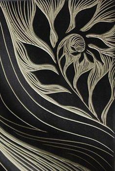 sgraffito-carved, ceramic tile detail