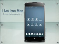 Mobile phone UI inspired by Tony Stark's phone in Iron Man 2. Three screens with custom icons, dock, wallpaper, and scratch-built interactive widgets.  Screen 3 of 3