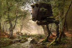 Abandoned AT-ST in the Forest Created by Oliver Wetter || Tumblr