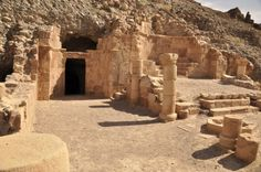 Lot's cave, Jordan.  Lot's cave is found on the site of the remains of an old church. The cave is believed to the the one Lot took refuge in with his two daughters when God according to the Bible destroyed Sodom and Gomorrah. The cave and part of the church ruins are fenced off.