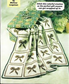 Festive Bow Afghan Crochet Pattern Christmas Blanket Throw Home Decor P-205 by PatternMania3 on Etsy