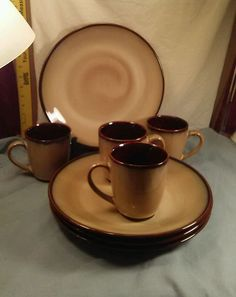"Sango NOVA BROWN 4933 Set of 4 Dinner Plates 10.5"" & Coffee/Tea 12oz Mugs  #Sango"