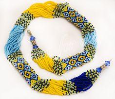 намисто з джгутом-сіточкою Patriotic Ukrainian ethno-Gerdan necklace yellow and by uaanna