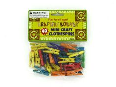 "Miniature craft clothespins - Pack of 24 by Bulk Buys. $35.52. Great Gift Idea.. Height: 6. Length: 6. Width: 6. Dimensions:. A 40 piece set of miniature craft clothespins that is perfect for small projects. These are made of wood and have a steel spring. The sticks are dyed in blue, green, orange, purple, red and yellow. Comes in a poly bag with header card. For ages 3 years and up. They measure 1"" x 1/8"" x 3/8"" at one end and 1/4"" at the other. Dimensions:. Length: 6..."