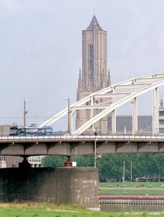 Holland - City of Arnhem, John Frost bridge across the Rhine.