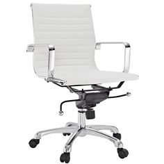 Malibu Mid-back White Vinyl Office Chair | Overstock.com Shopping - The Best Deals on Office Chairs - $215