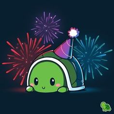 Limited Edition 2018 TeeTurtle Birthday Shirt T-Shirt TeeTurtle July 4 fireworks Cute Turtle Cartoon, Kawaii Turtle, Cute Animal Drawings, Kawaii Drawings, Cute Drawings, Cute Turtles, Baby Turtles, Cute Animal Quotes, Turtle Love