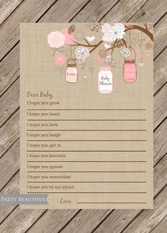 Dear Baby Well Wishes For Baby Girl Instant Download-pink, Linen, Mason Jars…