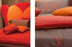 AMOREMIO bed Covering as seen: Headboard: Fabric art. Teddy Bear Trapuntato col. Arancione and col. Rosso cat. Maxi. Sommier with storage: Fabric art. Teddy Bear col. Arancione cat. Extra. Finishing: Shiny lacquered col. Brown. www.mantellassi.com