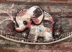 Elephant Bridge Painting by Karin Taylor Elephant Love, Elephant Art, Elephant Nursery, Elephant Tattoo Design, Elephant Tattoos, Elephant Design, Animal Drawings, Cute Drawings, Elefante Hindu