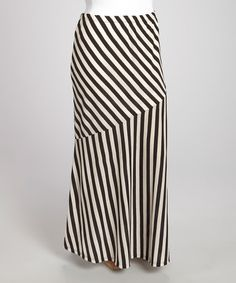 Another great find on #zulily! Black & Beige Stripe Maxi Skirt - Plus by Yummy #zulilyfinds