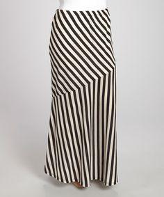 Another great find on #zulily! Black & Beige Stripe Maxi Skirt - Plus by Yummy #zulilyfinds
